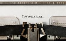 Text The Beginning Typed On Retro Typewriter