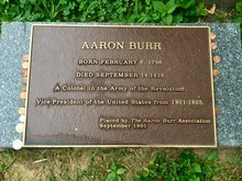 Aaron Burr Grave Marker With C...