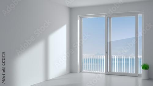 White sliding door in the room