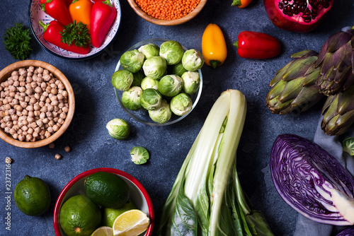 Poster Cuisine Healthy vegan cooking ingredients, fresh vegetables und chickpeas, clean eating concept