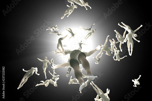 Photo 3D rendered illustration of Souls of deceased People streaming into the white light and afterlife of heaven