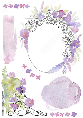 Leinwand Poster Greeting card with forged frame, flowers and watercolor splash