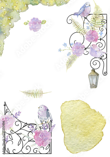 Leinwand Poster Greeting card with forged frame, flowers, birds and watercolor splash