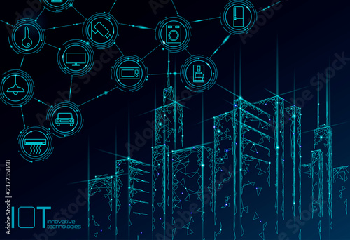 Internet of things low poly smart city 3D wire mesh. Intelligent building automation IOT concept. Modern wireless online control icon urban cityscape technology banner vector illustration