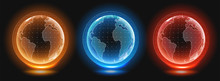 Planet Earth Hologram Templates. Digital Globe World. Holographic Image Of Planet Earth. HUD Style Vector Illustration.
