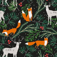 Christmas Seamless Pattern, Black Background. Forest Deer, Fox Animals, Green Pine Twigs, Red Berries, Snow. Vector Illustration. Nature Design. Season Greeting. Winter Xmas Woodland Holidays