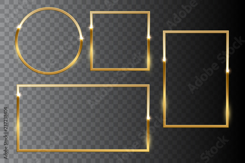 Obraz Golden shiny frame set isolated on dark transparent background. Vector design elements. - fototapety do salonu
