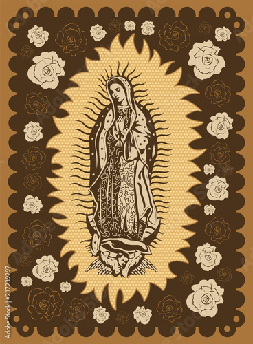 Virgin of Guadalupe vintage silk screen style poster illustration Canvas Print