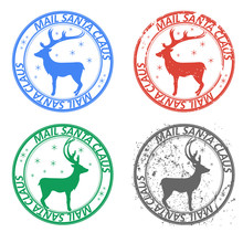 """Set Of Round Postage Stamps With Reindeer And Snowflakes. Smeared In Grunge Style. The Inscription """" Mail Santa Claus"""""""