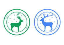Set Of Round Postage Stamps With Reindeer And Snowflakes. Place For Your Text