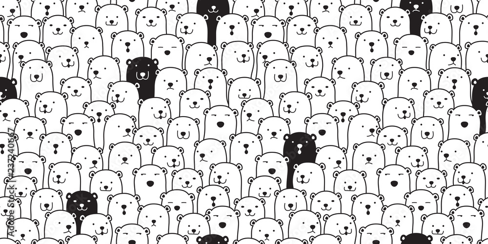 Fototapety, obrazy: Bear seamless pattern vector polar bear breed scarf isolated cartoon illustration tile background repeat wallpaper doodle