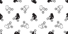 Bear Seamless Pattern Vector Polar Bear Bicycle Riding Cycling Scarf Isolated Cartoon Illustration Tile Background Repeat Wallpaper