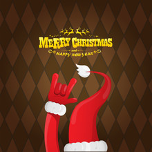 Vector Cartoon Rock N Roll Santa Claus Character With Gold Calligraphic Greeting Text On Brown Plaid Background. Merry Christmas Rock N Roll Party Poster Design Or Greeting Card.