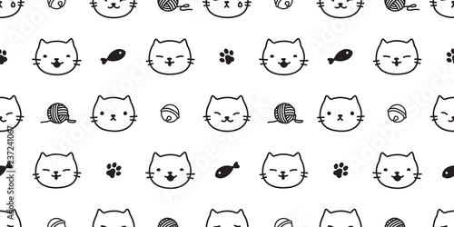 obraz lub plakat cat seamless pattern kitten paw cat toy vector scarf isolated background repeat wallpaper