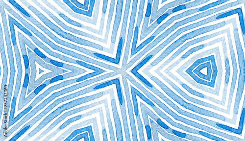 Fototapety, obrazy: Blue Geometric Watercolor. Curious Seamless Patter