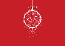 Minimalist Red Christmas Card Vector. Holiday Background With Hanging Christmas Ball. White And Red Christmas Ornament. Elegant Red Christmas Background