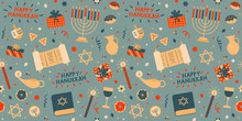 Bright Cheerful Happy Hanukkah Vector Pattern, Seamless Repeat With Red, Blue & Beige Shades. Modern Graphic Style. Great For Gift Wrapping Paper, Greeting Cards, Apparel Design Etc.