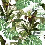 Bezszwowy wzór, tło z brown orchideą, palma i banany, opuszcza na białym tle. Ręcznie rysowane kolorowych ilustracji. - 237246692