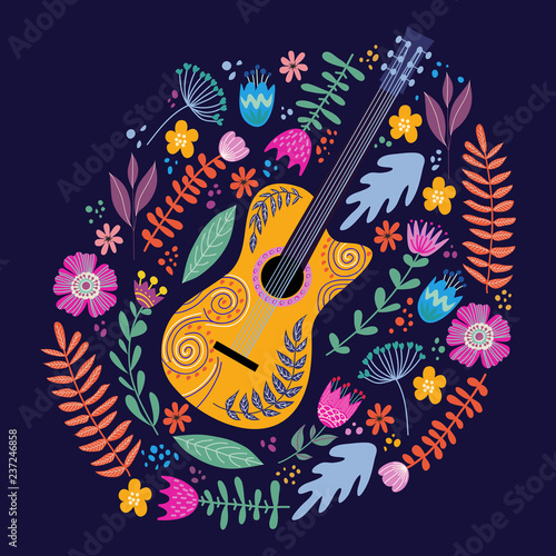 obraz PCV Isolated Guitar and Bright tropical leaves and flowers on blue background. Hand drawing folk flat doodles vector illustration
