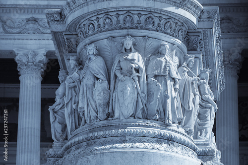 Photo  Colored image of Victor Emmanuel II Monument Closeup Detail