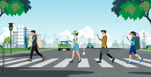 Foto Citizens and businessmen use the phone while walking across the street