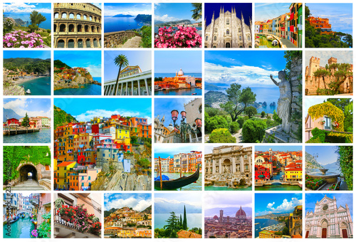 Obraz Collage of major Italian travel destinations from photos of Italy. The landscapes of Garda Lake, Venice, Capri island, of Manarola at Cinque Terre, Venice, Rome, Florence, Burano, Sorrento - fototapety do salonu