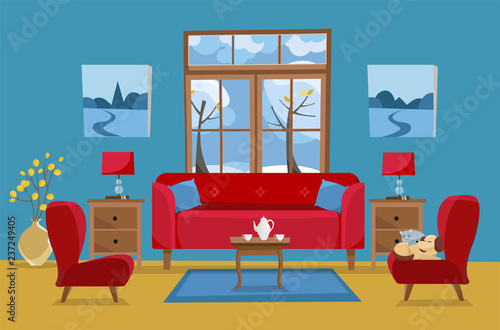 living room in yellow red blue colors red sofa with table rh stock adobe com