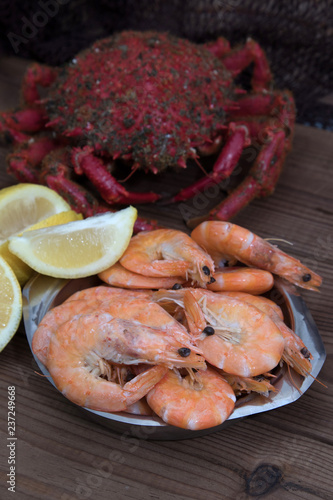 fresh prawns prepared, seafood