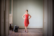 Portrait Of A Girl In Red Dress.