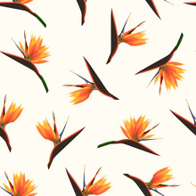 Exotic Tropical Bright Orange Flowers Isolated On Beige Background. Strelitzia Bird Of Paradise Foliage Seamless Pattern Texture. Vector Design Illustration For Fashion, Textile, Fabric, Decoration.