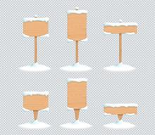 Wooden Sign Winter Snow 3d Vector Illustration Set