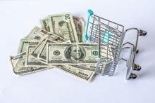 Fallen Shopping Cart Miniature Full Of Dollar Bills