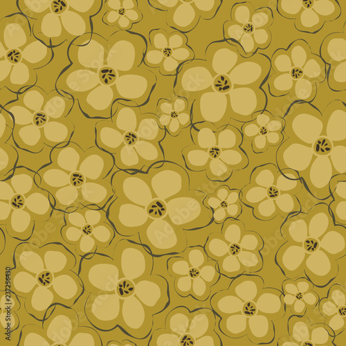 Fotografie, Obraz  Pretty all over floral pattern made up of many blossoms on a mustard yellow background