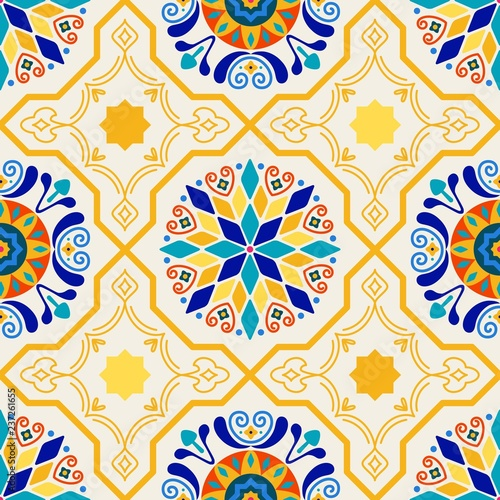 Printed kitchen splashbacks Moroccan Tiles Seamless Vector Modern Moorish Geometric Spanish Moroccan Ceramic Floor Tile Shapes in Butter Yellow & Royal Blue