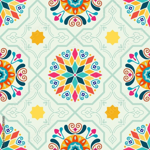 Seamless Vector Modern Moorish Geometric Spanish Moroccan Ceramic Floor Tile Sha Canvas Print