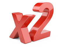 "3D Red Inscription ""x2""."