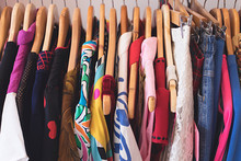 Close Up Of Vintage Clothing On A Store Rack