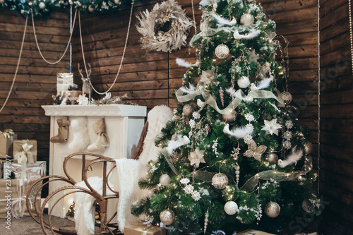 Cozy Christmas Photo Christmas Scenery Photo Area Chair Rocking Chair Christmas Tree Gifts Fireplace With Socks Cozy Decor For Christmas And New Year Holiday Concept Buy This Stock Photo And Explore