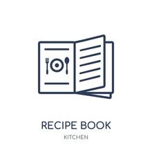 Recipe Book Icon. Recipe Book Linear Symbol Design From Kitchen Collection.