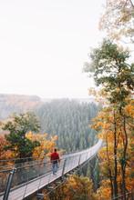 Man Walking On A Long Bridge I...