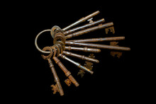 Bunch Of Vintage Antique Risty Keys On Black Background