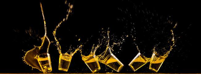 Six golden tequila shots
