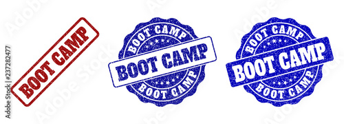 Fotografie, Obraz  BOOT CAMP grunge stamp seals in red and blue colors