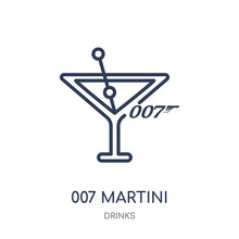007 Martini Icon. 007 Martini Linear Symbol Design From Drinks Collection.