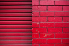 Red Brick Wall And Red Garage ...