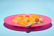 Canned Fruit Salad On Plate