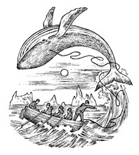 Whaling In The 18th And 19th Century. Vintage Seascape With Hunters In Boats With Harpoons. Scary Killing Of Animals. Vintage Style. Engraved Hand Drawn Sketch.