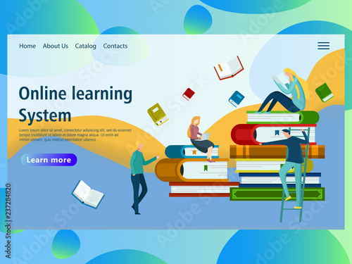 Web Page Design Template For Online Education Distance Courses E Learning Learning Video Tutorials Webinar Business Training Vector Illustration For The Website And Mobile Landing Page Buy This Stock Vector And Explore