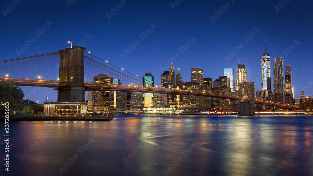 Fototapety, obrazy: Brooklyn Bridge and Lower Manhattan, New York City, USA