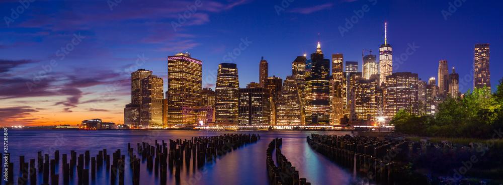 Fototapety, obrazy: Downtown Manhattan at twilight, New York City, USA